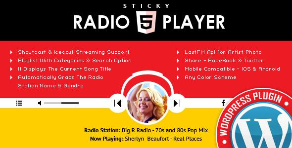 sticky radio player wordpress plugin full width shoutcast and icecast html5 player