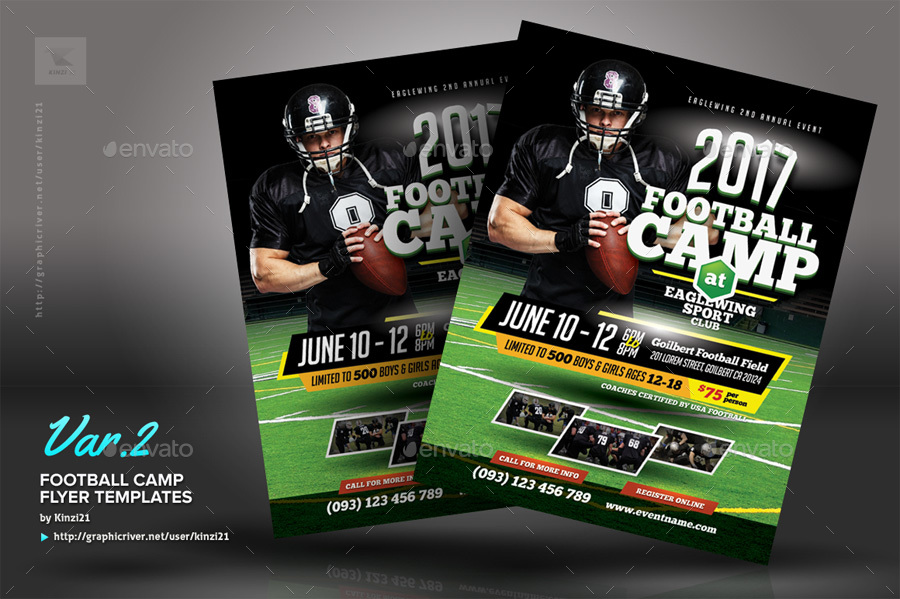 Football Camp Flyer Templates by kinzi21 | GraphicRiver