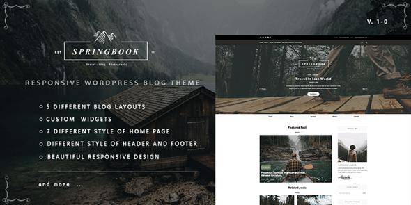 Springbook - Responsive WordPress Blog Travel Photography Theme version 1.0.1