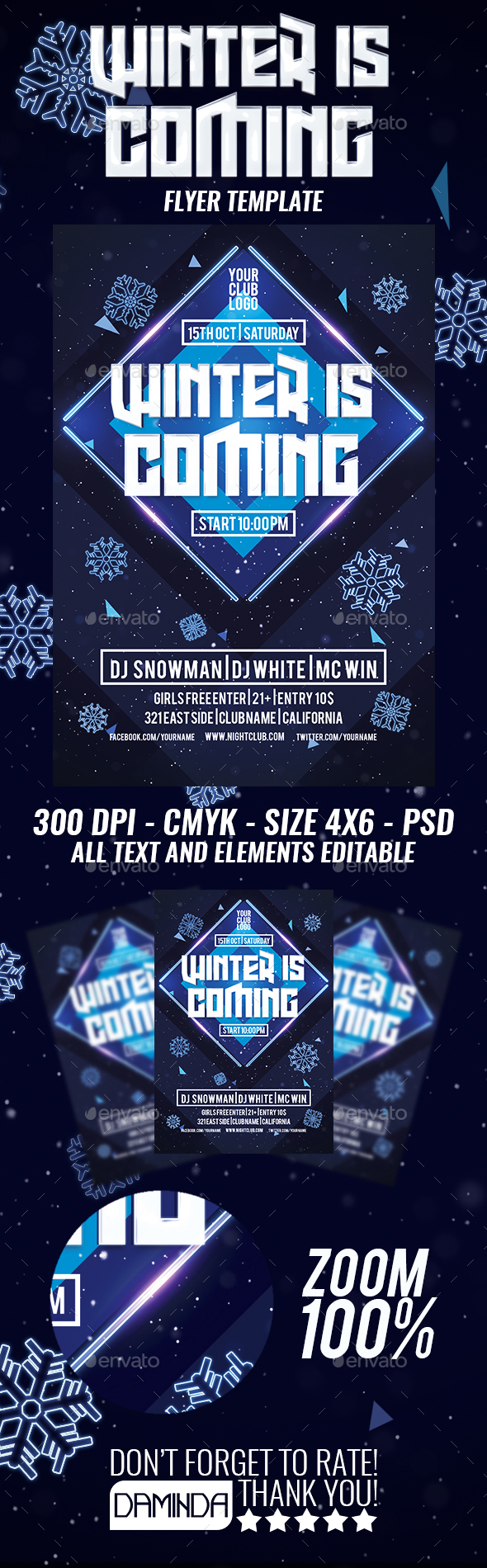 Winter Is Coming Flyer Template by Daminda-Design | GraphicRiver