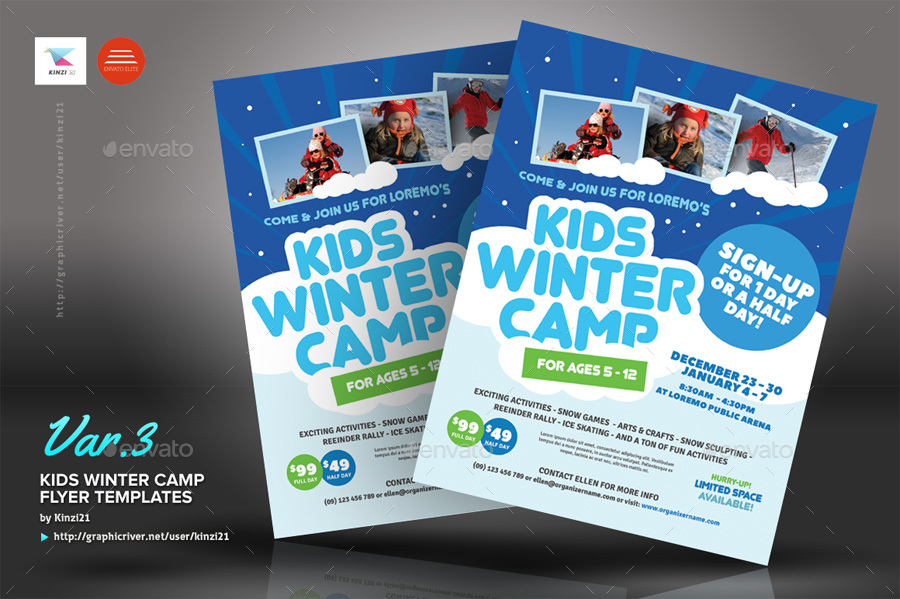 Kids Winter Camp Flyer Templates by kinzi21  GraphicRiver