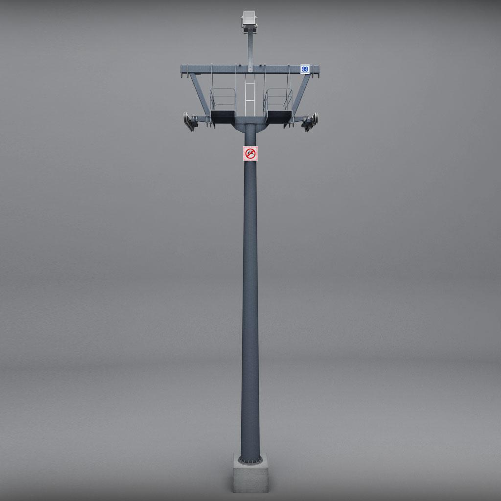 Ski lift mountain pole medium poly by kr3atura  3DOcean