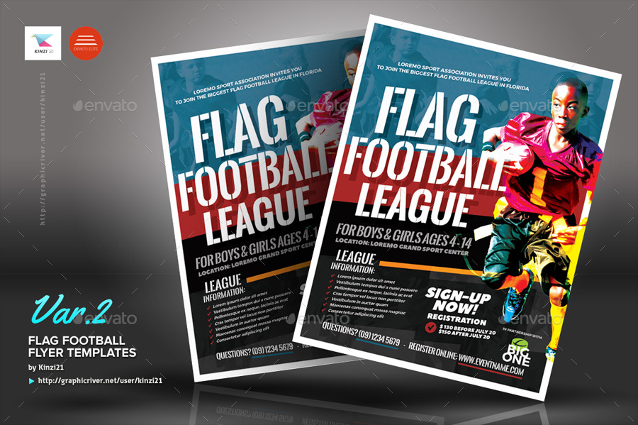 Flag Football Flyer Templates by kinzi21 | GraphicRiver
