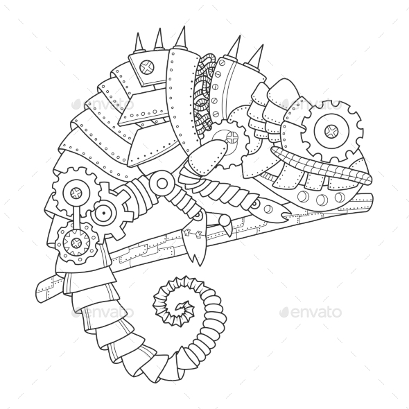 Steampunk Style Chameleon Coloring Book Vector by