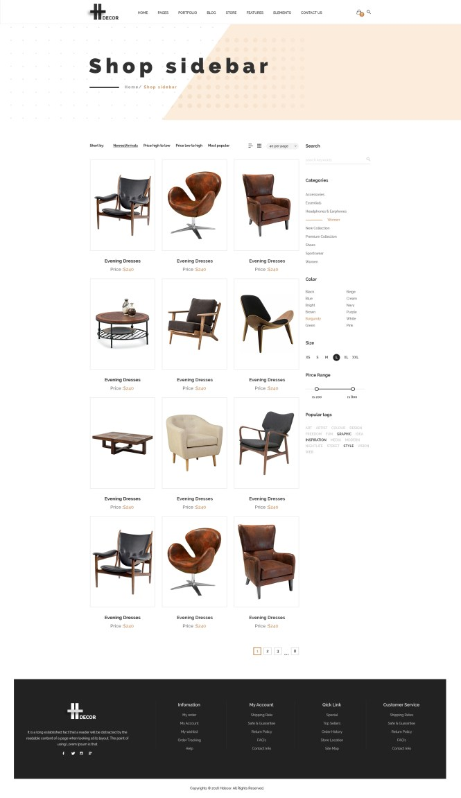 H Decor Creative Psd Template For Furniture Business Online