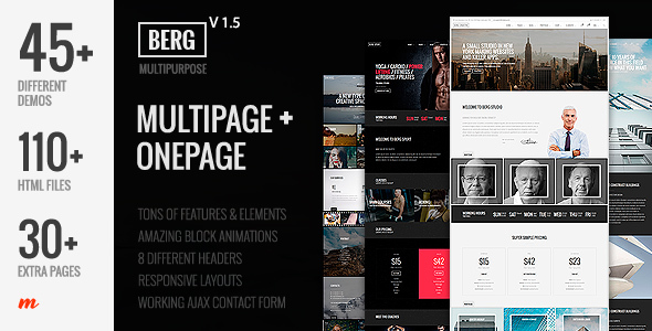 Berg - Multipurpose One Page & Multi Page Template