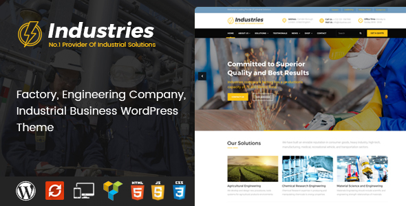 Industries - Factory, Engineering Company, Industrial Business WordPress Theme