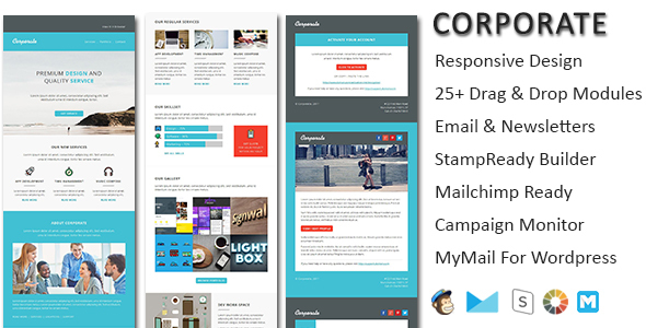 Corporate Responsive Email Newsletter Templates With Online Stampready Amp Mailchimp Builders