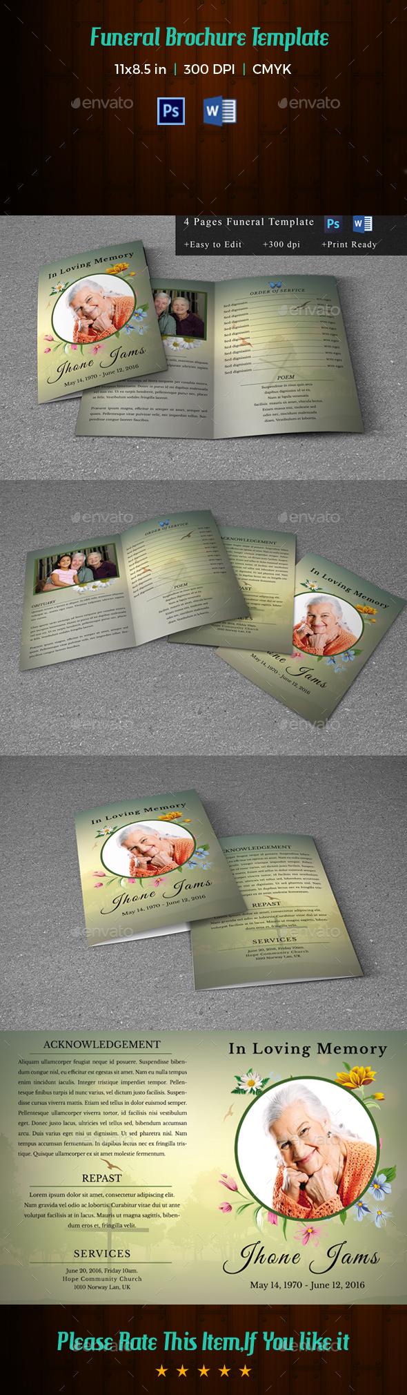 Printable Funeral Program Template-V159 - Informational Brochures