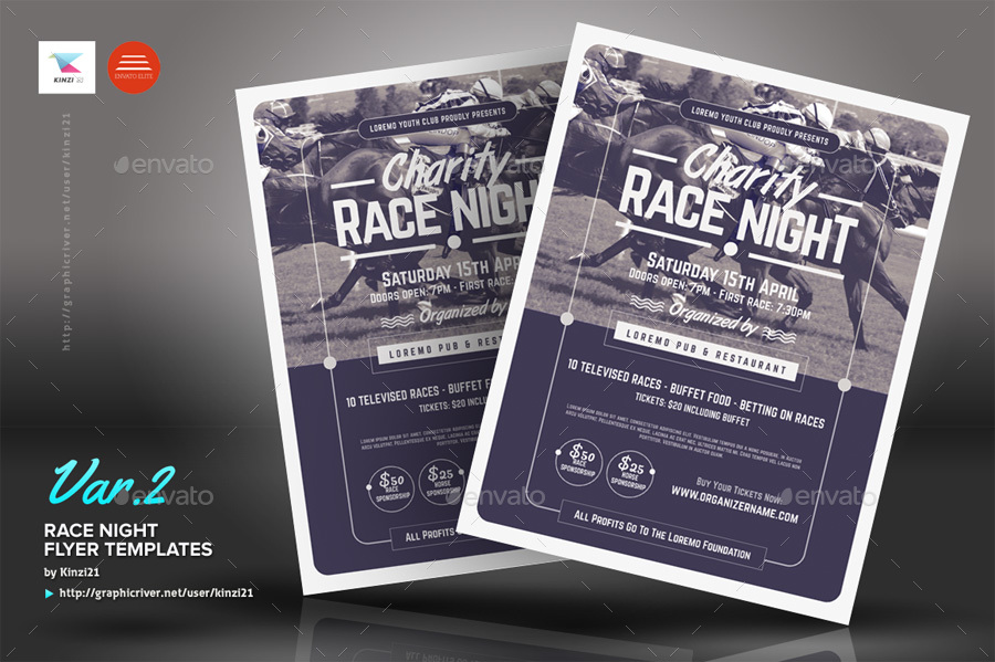 Race Night Flyer Templates by kinzi21  GraphicRiver