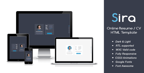 Sira - Online Resume / CV HTML Template by Webrouk | ThemeForest