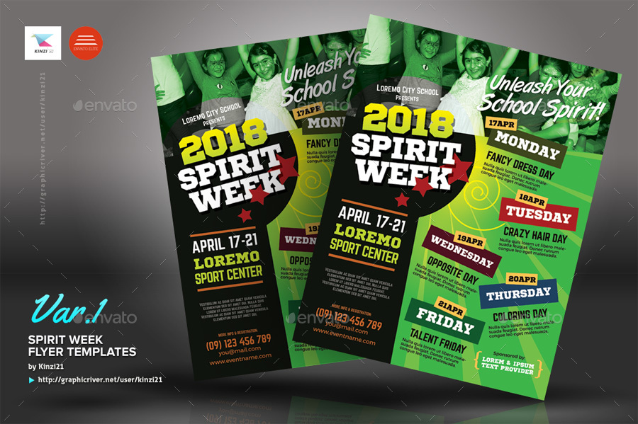 Spirit Week Flyer Templates by kinzi21  GraphicRiver