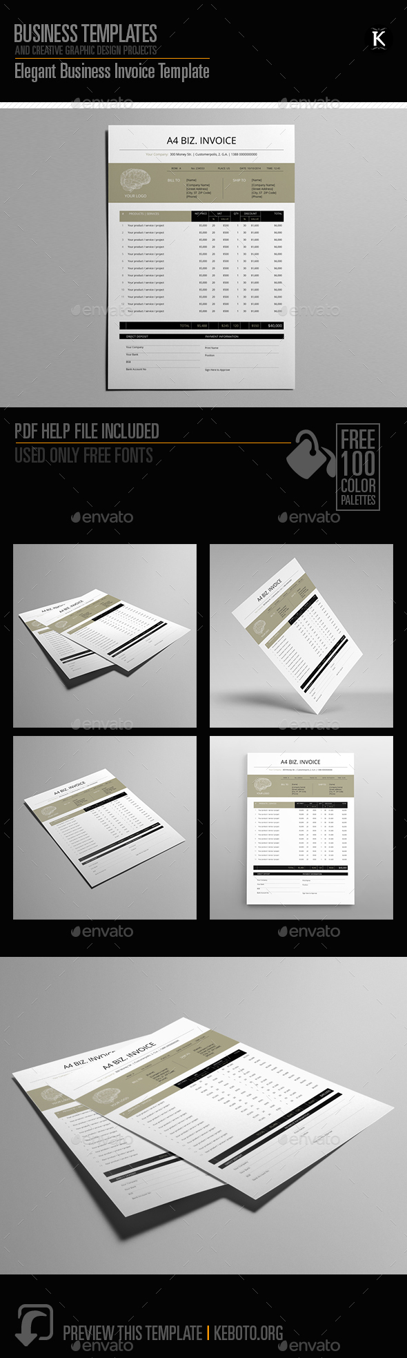 Elegant Business Invoice Template - Proposals & Invoices Stationery