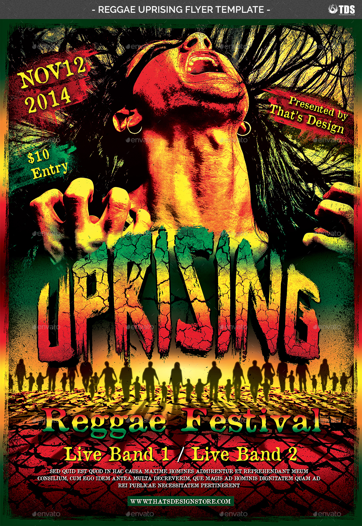 Reggae Uprising Flyer Template By Lou606 GraphicRiver