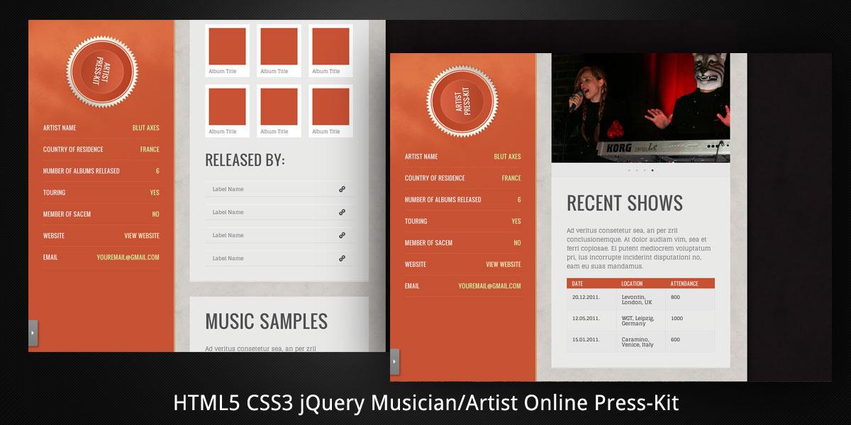 MusicianArtist HTML5 Online PressKit by virtuti