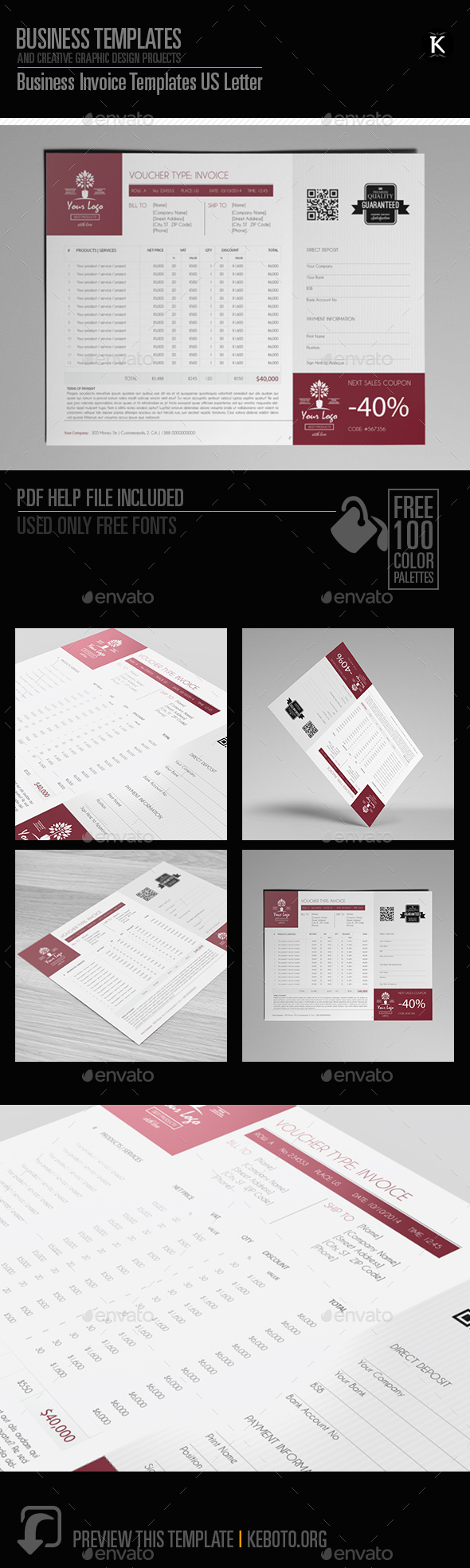 Business Invoice Templates Us Letter - Proposals & Invoices Stationery