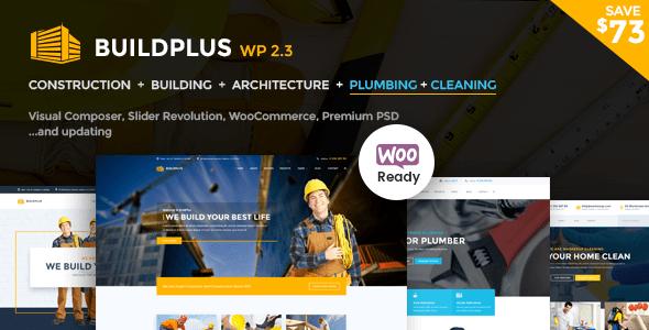 Construction WordPress Theme   Construction WP Build Plus (Construction, Cleaning, Plumbing)