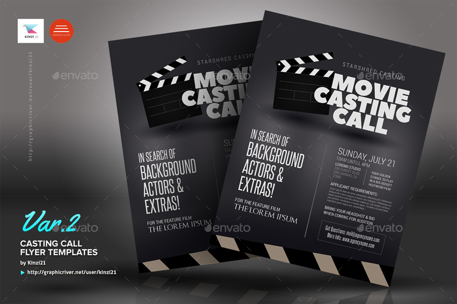 Casting Call Flyer Templates by kinzi21  GraphicRiver