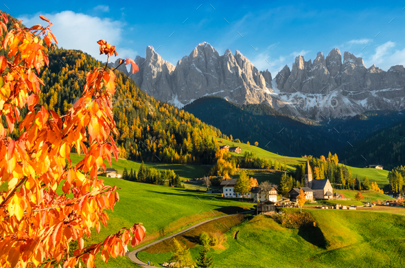 Fall Mountains Hd Desktop Wallpaper Village In A Dolomite Landscape In Autumn Stock Photo By