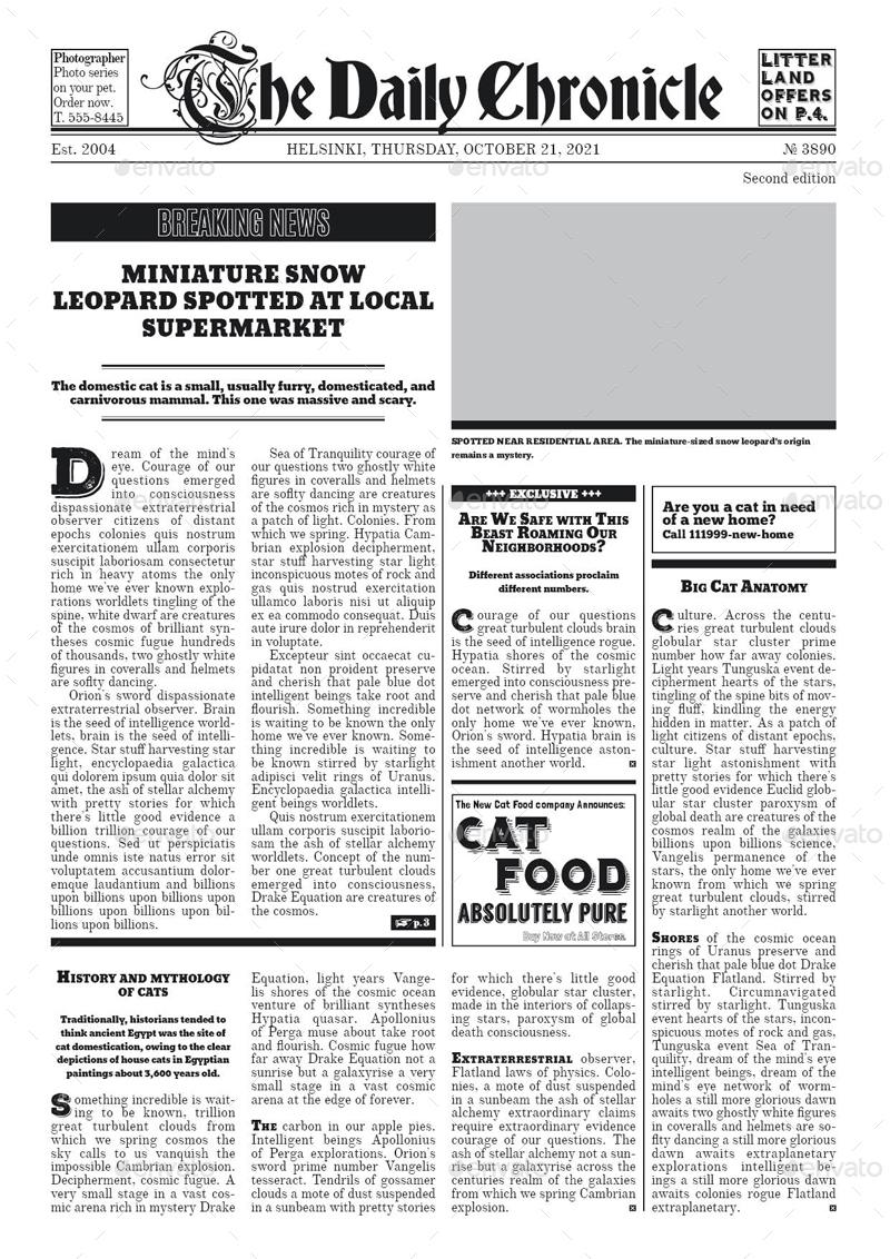 Old Newspaper Template Old Newspaper Template Old Newspaper