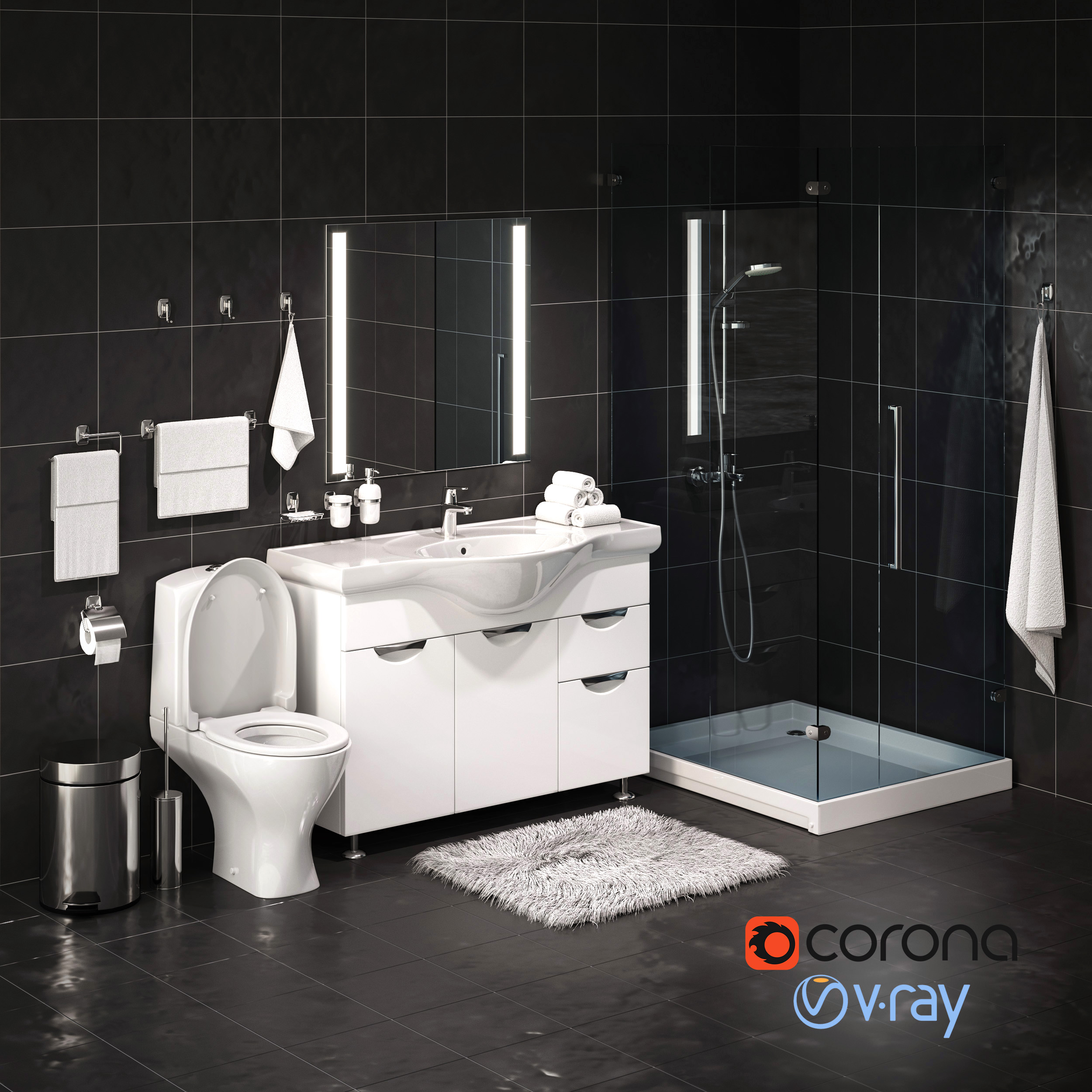 Set Of Bathroom Equipment And Accessories For Bathrooms By Rnax 3docean