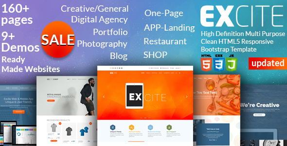 Excite – High Definition Multi-Purpose Clean HTML5 Responsive Bootstrap Template