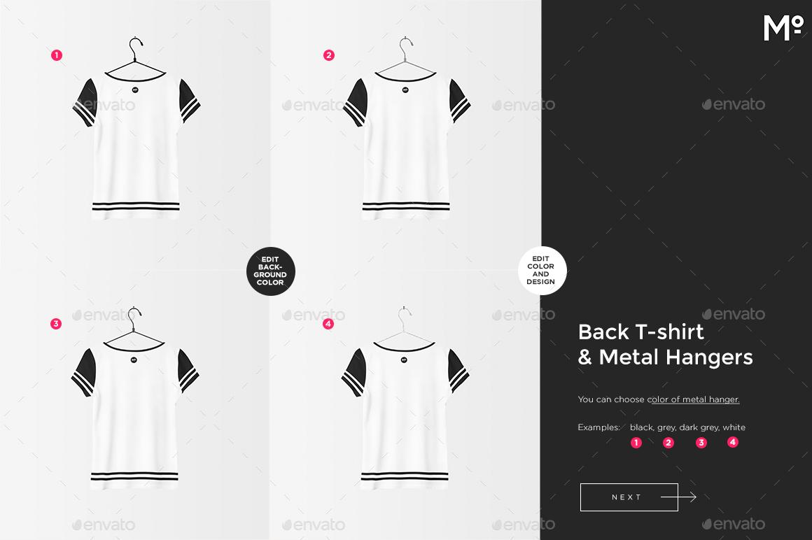 Women T-shirt Deep V- & O-Neck & Hangers Mock-ups Set by