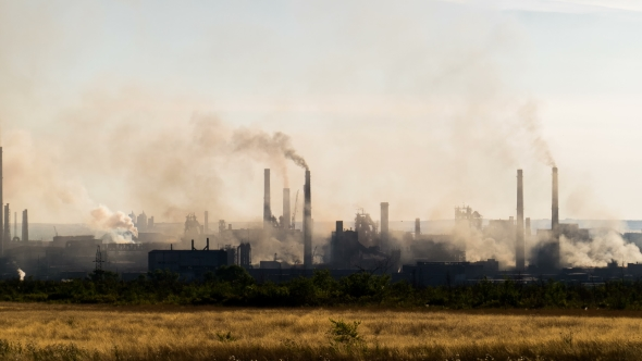 Industrial Landscape From Pipe Factory Smoke Polluting
