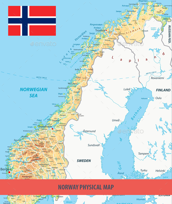 Norway Physical Map by Cartarium GraphicRiver