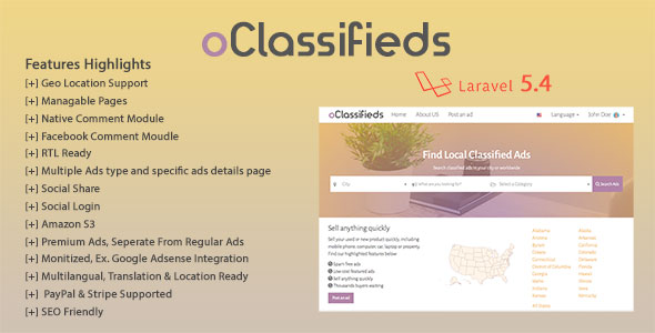oClassifieds - PHP and Laravel Geo Classified ads cms