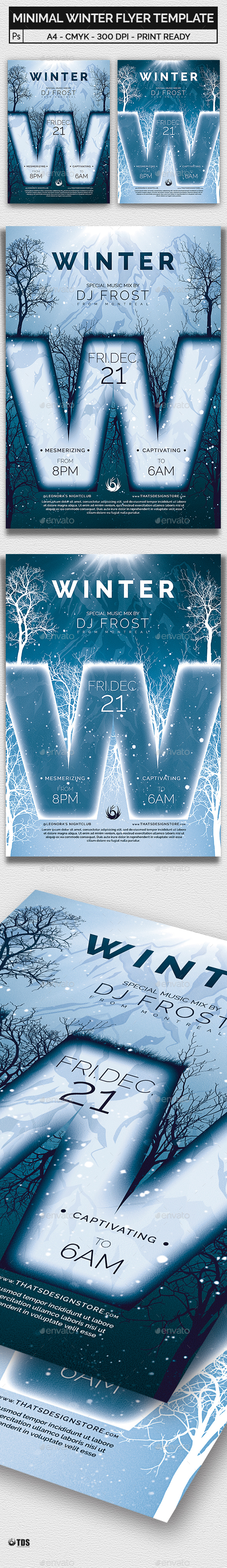 Minimal Winter Flyer Template by lou606 | GraphicRiver