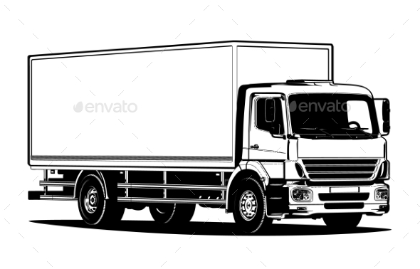 Vector Truck Outline Template Isolated on White by