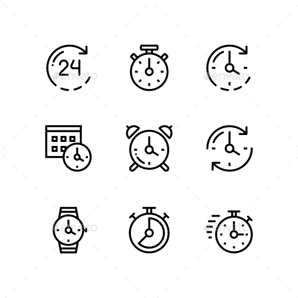 Set of Time, Clock, Watch, Timer Vector Outline Icons for
