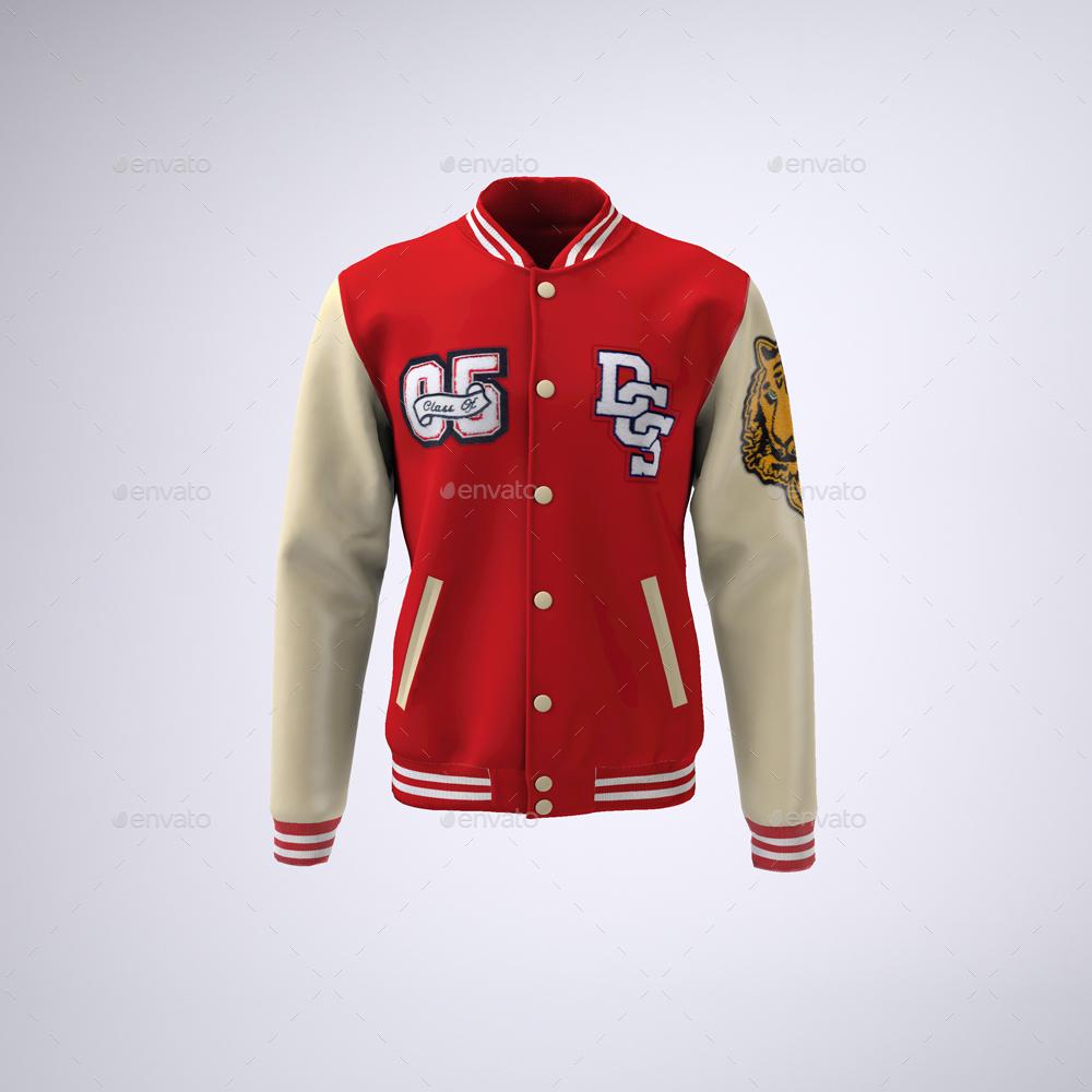 Varsity Baseball Bomber Jacket MockUp by Sanchi477