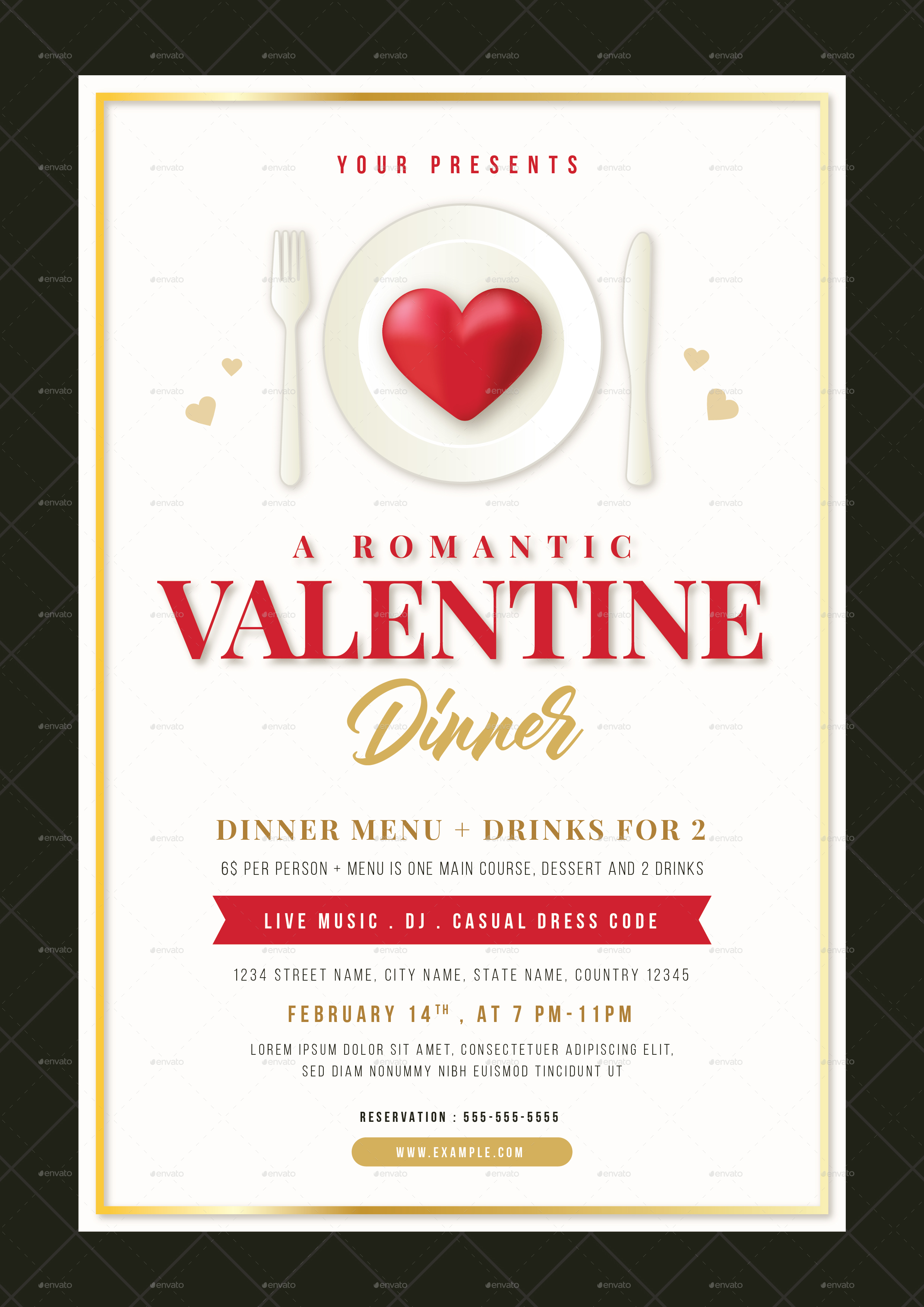 Valentine Dinner Flyer Amp Menu Template By VectorVactory