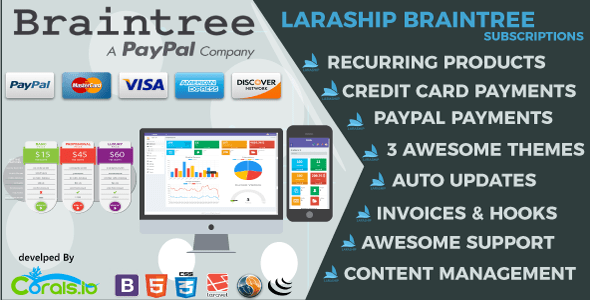 Laraship Braintree: Laravel 5.5 PayPal and Credit Card Subscriptions Platform with CMS