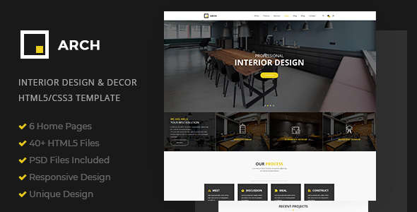 Arch Decor is a clean and creative HTML5 / C33 template suitable for Home Design, Home Decor, Decor, Art Decor, Furniture, Architecture and Building Business, etc. You can easily customize it to suit your needs.