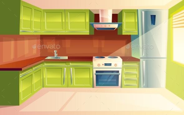 Vector Cartoon Modern Kitchen Interior Background By Vectorpocket GraphicRiver