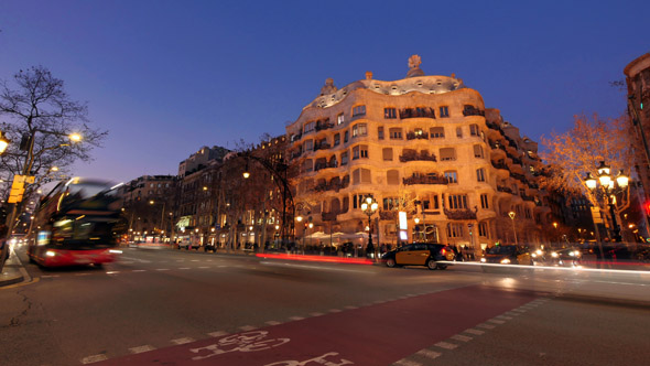 Casa Mila La Pedrera of Antoni Gaudi in Barcelona from Day to Night by creativesight