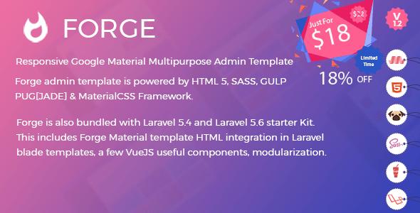 Forge Admin Template (HTML Version + Laravel 5.4 & 5.6 Starter Kit)