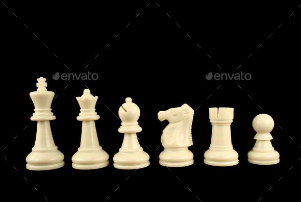 white chess pieces on