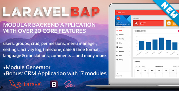 Laravel-BAP Modular Backend Application Platform + Example CRM with 17 modules