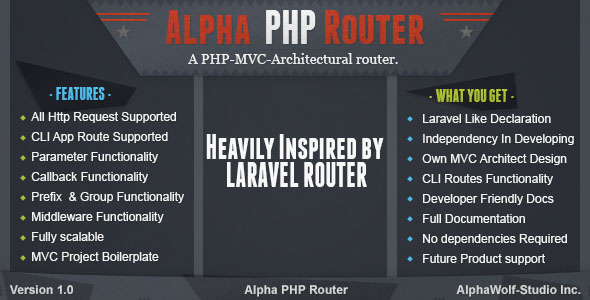 Alpha PHP Router | A PHP-MVC-Architectural Laravel Standalone