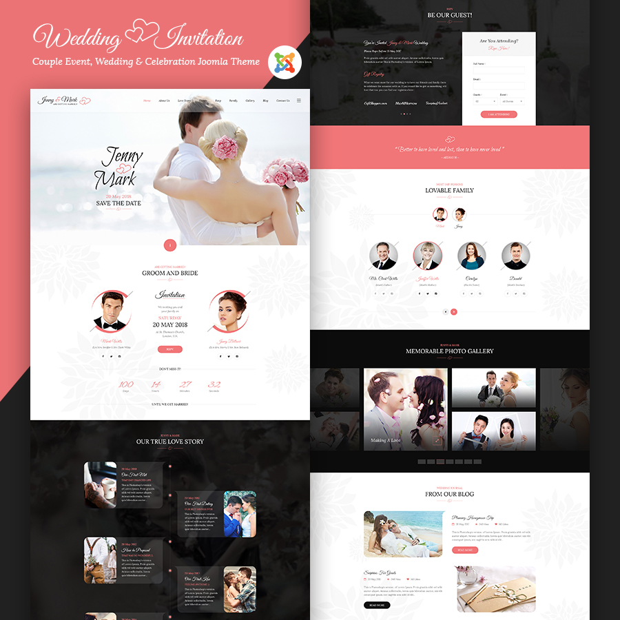 Wedding Invitation - Couple Event and Celebration Joomla Theme - 1