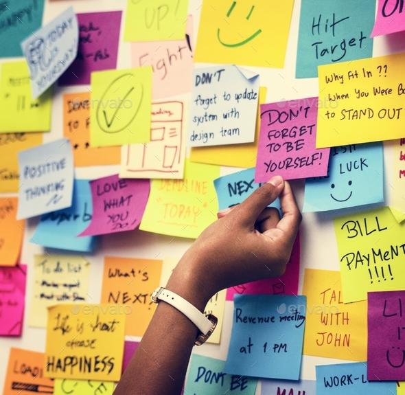 sticky notes on an