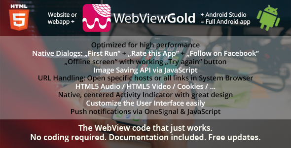 WebViewGold for Android – WebView URL/HTML to Android app + Push, URL Handling, APIs & much more!