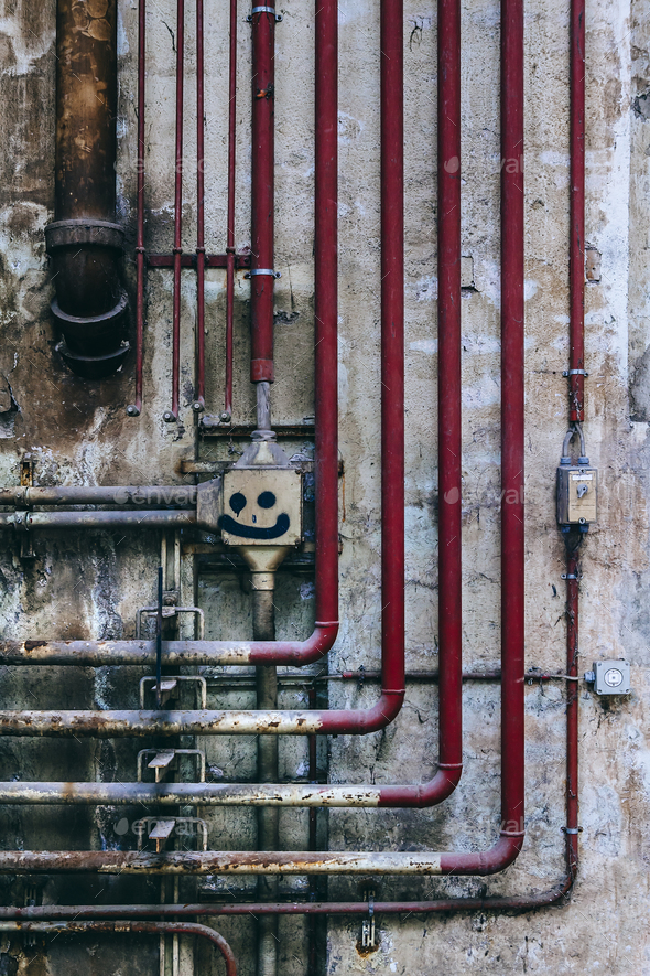 old industrial wall of