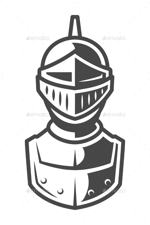 Knight Metal Helmet Front View Template by imogi