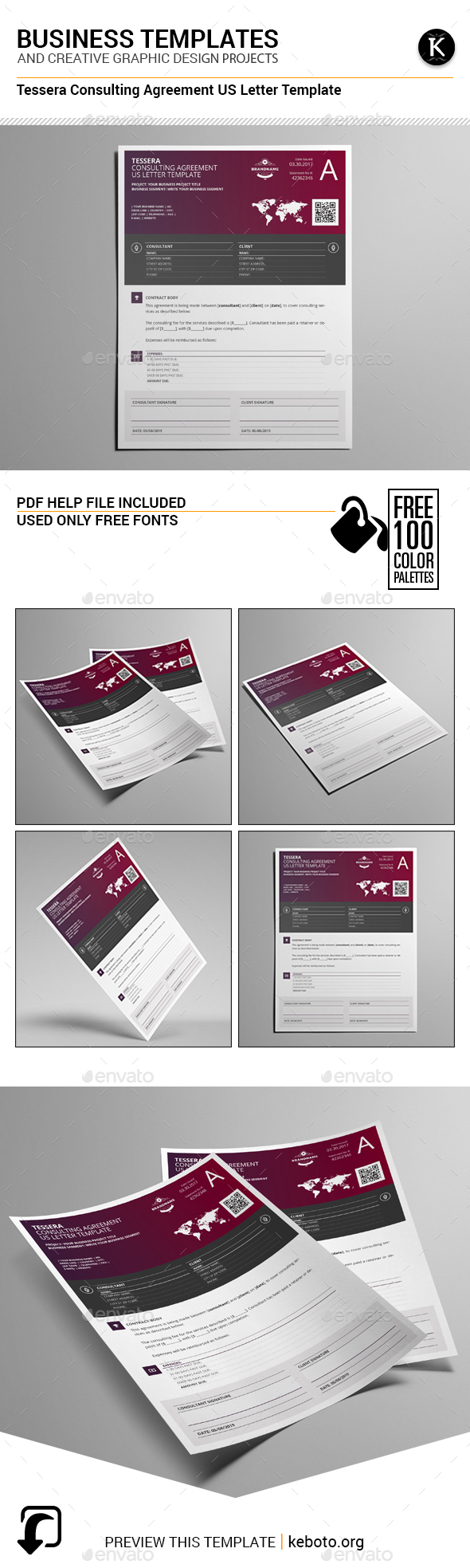 Tessera Consulting Agreement US Letter Template by Keboto | GraphicRiver