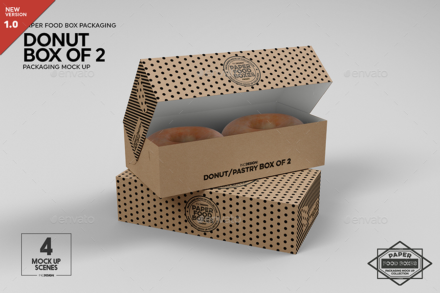 Download Box of 2 Donut / Pastry Box Packaging Mockup by ...